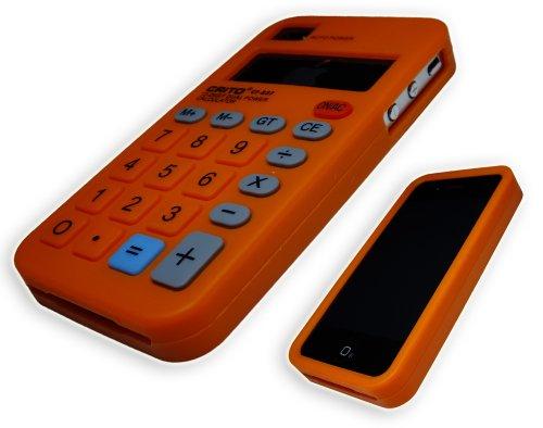 Xcessor Fun Line Kalkulator Silikon Schutzhülle Für Apple iPhone 4 und 4S schwarz orange