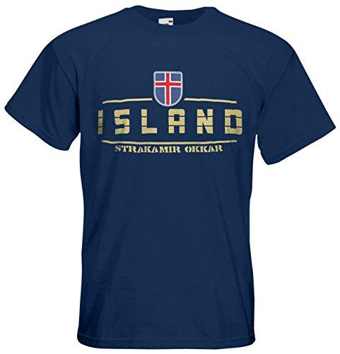 AkyTEX Island EM 2016 Fanshirt T-Shirt Trikot (Navyblau, L)