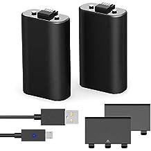 YCCTEAM Xbox One - Batería Recargable (2 Unidades, 1200 mAh, para Xbox One NI-MH, Cable de Carga Micro USB y Funda para Xbox One, Xbox One S, Xbox One X, Xbox One Elite), Color Negro