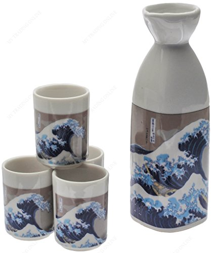 NA c8a631Japanische Great Wave Sake-Set Cherry Blossom Sake Set