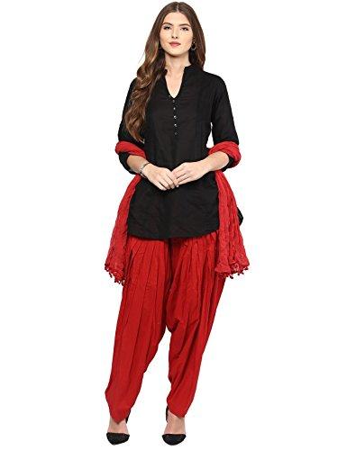 Pistaa women's Cotton Short Black Kurta and Maroon Punjabi patiala Salwar with...