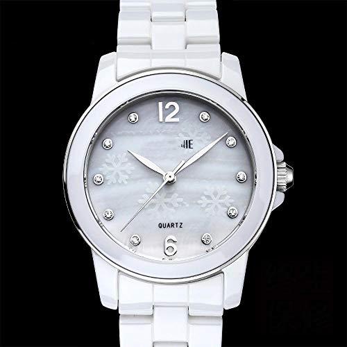 Lnyy Keramik Uhr weibliche wasserdicht weiß Keramik Damen Uhr Quarz