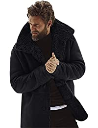 Veste d hiver pour Hommes Manteau boutonné en garçon en Peau de Mouton  Manteau Chaud en Laine doublée de Montagne Faux Agneau col… d2d658f7064
