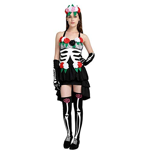 e Schwarze Skelett Ghost Bride Kostüm Halloween Party Scary Vampire Demon Cosplay Kostüm ()