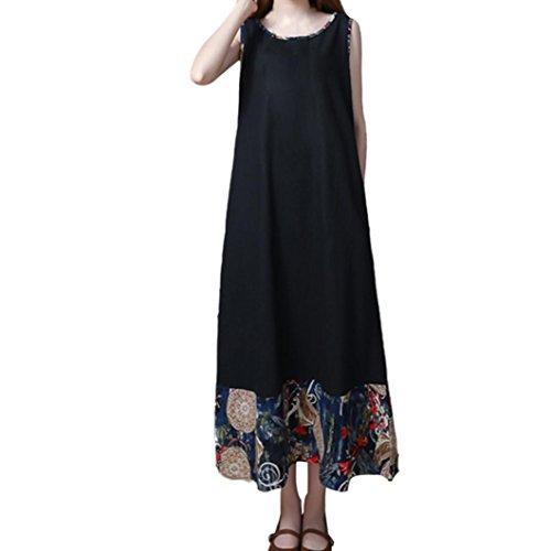 Amphia Damen Baumwolle Ärmelloses Kleid,Frauen Retro Casual Lose Langes Kleid Baumwolle Leinen...