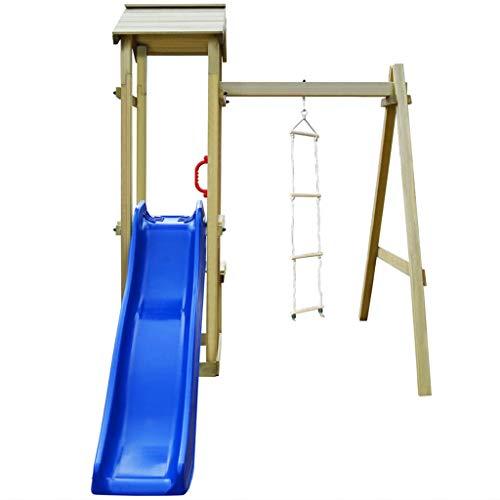 Festnight Spielturm mit Rutsche und Leiter | Garten Kletterturm | Spielplatz | Klettergerüst | Spielgerät | Grün Imprägniertes Kiefernholz 228×168×218 cm