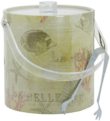 Handgefertigt in den USA, doppelwandiger, isolierter Eiseimer mit Eiszange Vintage Coral La Belle