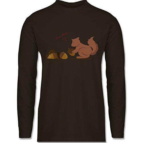 Wildnis - Eichhörnchen True Love - Longsleeve / langärmeliges T-Shirt für Herren Braun