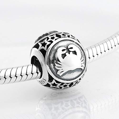 MUATE 925 Silber 12 Sternbild Stern Zodiac Perlen Charms Fit Pandora Charm Armband Schmuck Machen Krebs (Zodiac Schmuck Machen Charms Für)