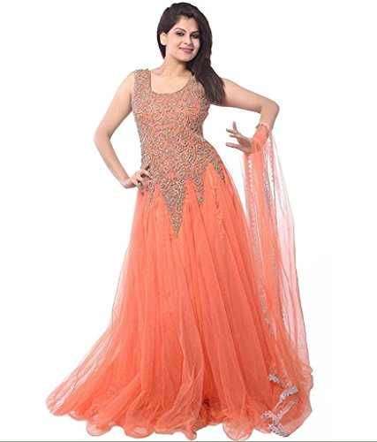 Starword Dresses for Women's Net Embroidered Semi-Stitched (gown) (GOWN_ORANGE_FREE SIZE)  available at amazon for Rs.198