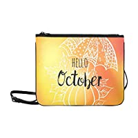 Hello October Poster Umbrella Pumpkin Leaves Custom High-grade Nylon Slim Clutch Bag Cross-body Bag Shoulder Bag