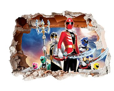 Image of Power Rangers Design Children's Repositionable Self Adhesive Vinyl 3D Hole in the Wall Sticker Décor