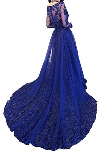 Promgirl House Damen Schoen A-Linie Spitze Abendkleider Ballkleider Festkleider Party Lang mit Aermel Royalblau