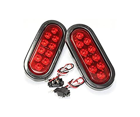 2 Kl-35100rk Red Oval Sealed LED Turn Signal and Parking Light Kit with Light, Grommet and Plug for Truck,Trailer (Turn, Stop, and Tail