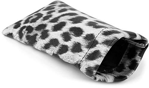 styleBREAKER Etui für Sonnenbrillen mit Leoparden Muster und Putztuch, Brillenetui mit Schnappverschluss, Unisex 09020096, Farbe:Grau-Schwarz