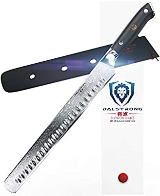 "DALSTRONG Slicing Carving Knife - 12"" Granton Edge - Shogun Series - AUS-10V- Vacuum Treated- Japanese Super Steel - Sheath"