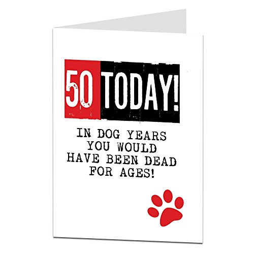Funny 50th birthday cards amazon funny 50th birthday card for men women age joke dog theme bookmarktalkfo Images