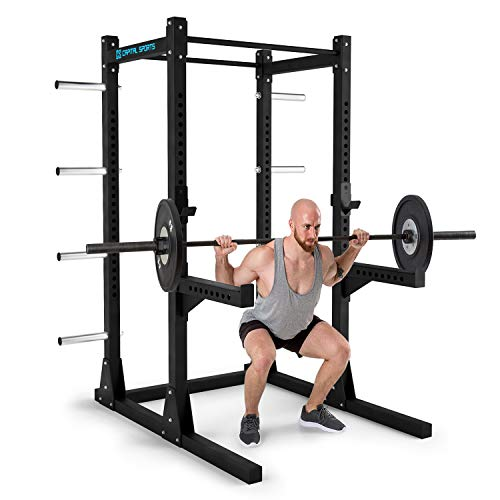 CAPITAL SPORTS Bestride Power Rack • Power Cage • Kraftstation • 2 x Safety-Spotter • 2 x J-Cups • 2 x Pull Up-Bars • 8 Gewichts-Halterungen • massiver Stahl • ca. 184 x 225 x 170 cm (BxHxT) • schwarz