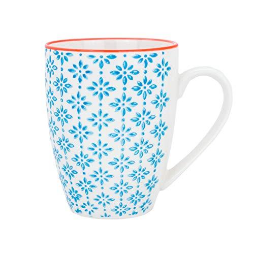 Tasse à café/thé ornée de motifs - 360 ml - imprimé bleu/orange