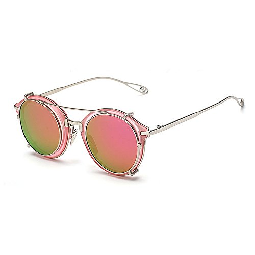 Sonnenbrille Aviator Unisex Retro Punk abnehmbares Metall gestreift (Color : Purple)