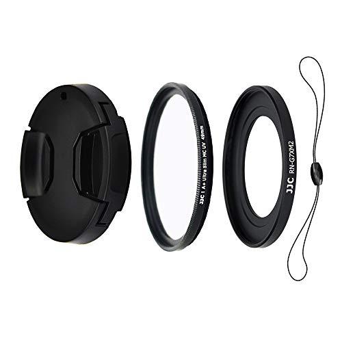 JJC Objektiv Zubehörset 4 teilig für Canon Powershot G5X, G7X and G7X Mark II mit Objektivadapter, UV Filter, Objektivdeckel und Objektivdeckelhalter (49mm)
