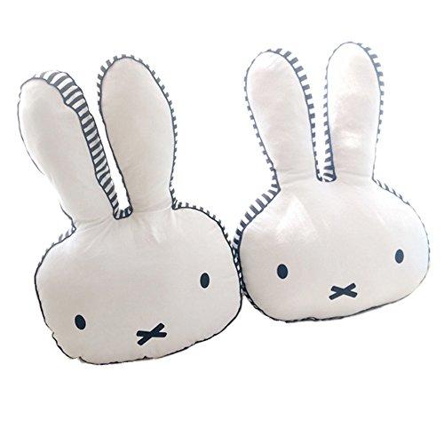 Nunubee Easter Ostern Rabbit Kaninchen Spielzeug Kissen Kurzes Plüsch Baumwolle PPSofa Büro Dekorativ zierkissen mit füllung Geburtstagsgeschenk wohnzimmer deko babyzimmer deko, Weiß 40x27cm