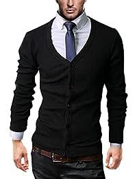 KAYHAN Herren Cardigan Pullover Slim Fit Schwarz S-XXL V- Schnitt Bügelleicht!!!