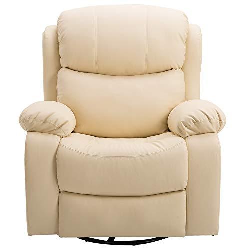 HOMCOM Poltrona Relax Massaggiante Reclinabile Riscaldante Beige Ecopelle |  Offerta |