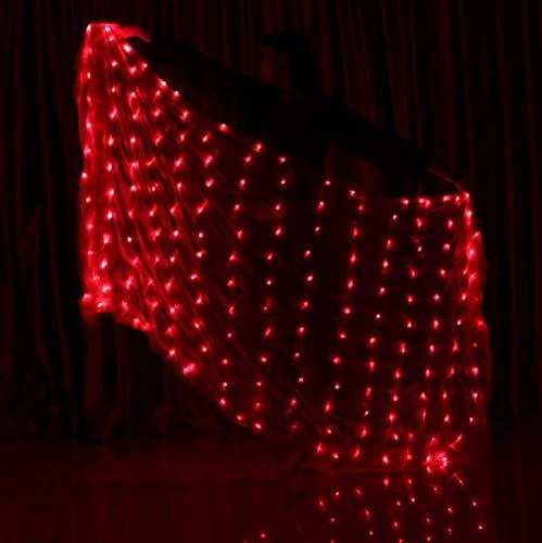 Z&X Bauchtanz Requisiten LED Silk Schal Dance Performance Praxis Requisiten Handwurf Schal Dance LED Glow Schal,red