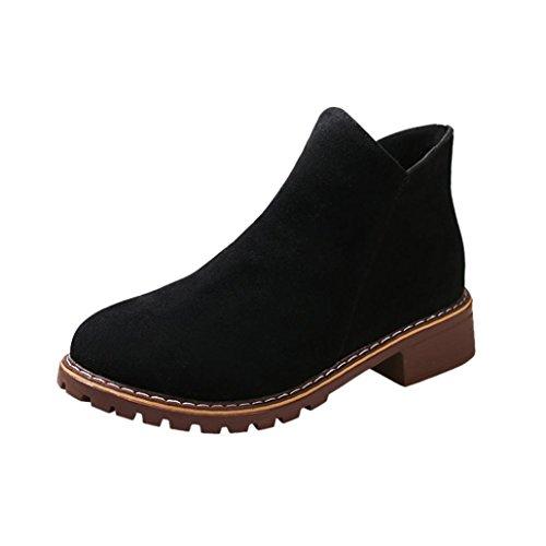 Damen Stiefeletten Winter Btruely Britischer Stil High Heels Stiefel Frühling Schuhe Mode Mädchen Dicke Stiefel Warme Martin Stiefel Slouchy Schuhe (39, Schwarz) (Slouchy-stiefel)