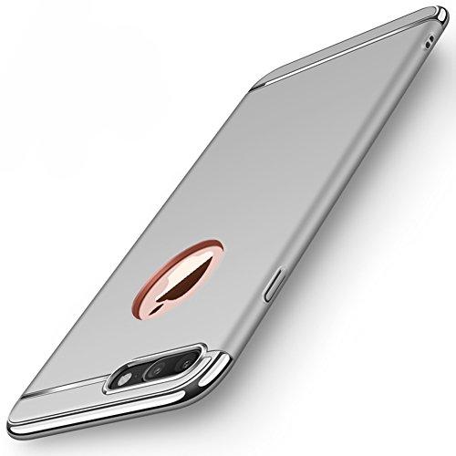 "Coque Apple iPhone 8 Plus (5.5""), MSVII® 3-in-1 Design PC Coque Etui Housse Case et Protecteur écran Pour Apple iPhone 8 Plus (5.5"") - Argent JY50187 Argent"