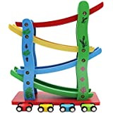 Maggift Ramp Racer,Wooden Ramp Car Toy For Kids, 4 Cars