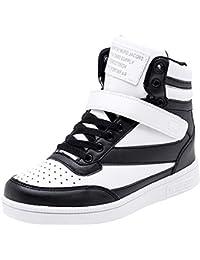 25bf64a7da39 wealsex Basket Montante Compensées Femme Scratch Lacets PU Cuir Chaussure  Mode Confort