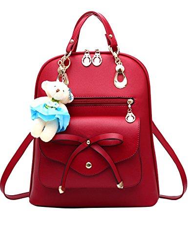 Menschwear PU Zaino Satchel Daypack sacchetto di scuola Blu Vino Rosso