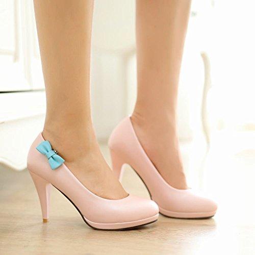 Mee Shoes Damen modern süß populär runder toe Geschlossen Trichterabsatz Plateau Pumps Pink
