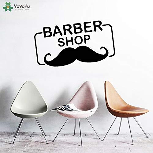tzxdbh Wandtattoo Barbershop Logo Vinyl Fenster Aufkleber Schnurrbart Friseursalon Kunst Wandbild Tapete Mann Haarschnitt Abnehmbare Dekor 73 * 42 cm
