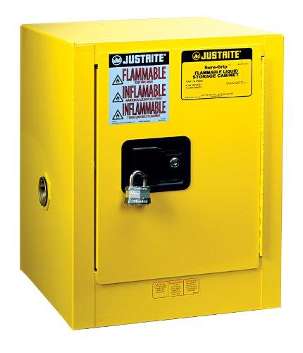 Justrite Sure Grip EX 8904001 FM-Armadietto di sicurezza per liquidi infiammabili, 1 anta, 1 Mensola, manuale stretto, 15 L, 559 mm altezza, 432 x 432 mm di mm profondità, acciaio, 4 L, altezza (22 55,88 cm, larghezza (17 43,18 cm, 43,18 (17 cm, colore: