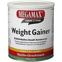 Megamax - Weight Gainer - Suplemento para ganar peso y masa muscular - Vainilla - Solo un 0,5 % de grasa - 1,5 kg