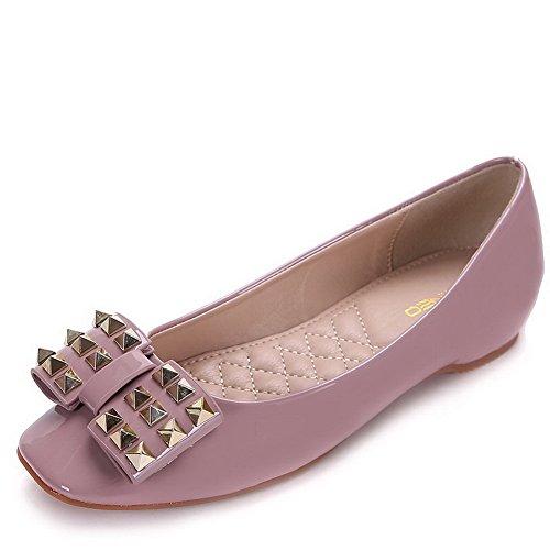 AalarDom Damen Quadratisch Zehe Lackleder Niedriger Absatz Pumps Schuhe mit Nietbolzen Pink