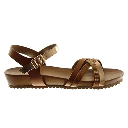 Angkorly Scarpe Moda Sandali con Cinturino Alla Caviglia Donna Multi-Briglia Pelle di Serpente Strass Tacco Zeppa 3 cm Cammello