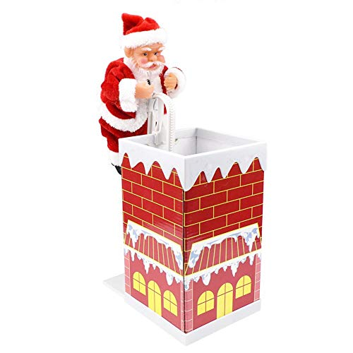 YouN Santa Claus Climbing Chimney Doll Electric Toy with Music -