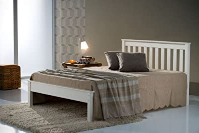 Happy Beds Denver Classic Styled Wooden Bed Pine/Ivory Bedroom Home Mattress New - inexpensive UK light store.