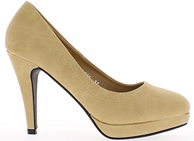 Mate de 10cm de camello mujeres zapatos tacones con plataforma -