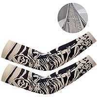 DQWGSS Tatuaje Falso Mangas de Brazo Protección UV para Hombres Mujeres Niños Refrigeración Transpirable para Ciclismo Conducción Deportes al Aire Libre Golf 1 Pares,Style 1