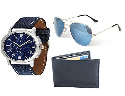 Holboro Combo Origin Analog Watch With Aviator Sunglass & Genuine High Quality Men's PU Leather Men's Wallet