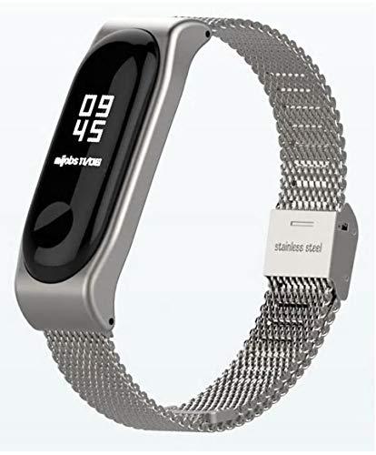 Xiaomi Mi Band 3 Fitnessarmband mit Herzfrequenzmessung, Armband: Edelstahl Mesh Silber, inkl. Wechselarmband: Schwarz - Silikon