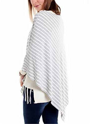 Tayaho Allaitement Blouse Femme Tunique Allaitement Maternité Détails Contraste Haut Baggy Décontractée Top Basique Stripes Grey