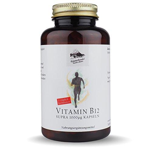 Vitamin B12 Kapseln • 1000 mcg Vitamin B12 • hochdosiert • 185 Kapseln (6 Monatsvorrat) • OHNE Magnesiumstearat • Deutsche Premium Qualität • Kräuterhandel Sankt Anton