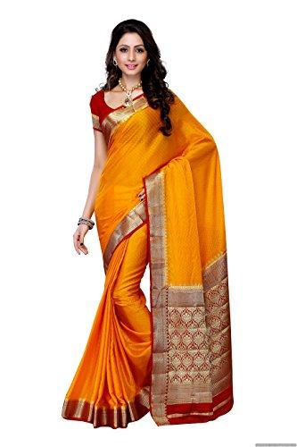 Mimosa Women'S Creap Silk Saree With Blouse,Color:Gold(3200-2077-MGLD-RMRN)