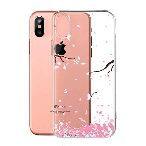 Coque pour Apple iPhone X (5,8 pouces) ,ZXLZKQ Art Fleur Blanc Transparent Premium Housse Souple TPU Case Etui Silicone Back Bumper Cover pour Apple iPhone X (5,8 pouces) WM87